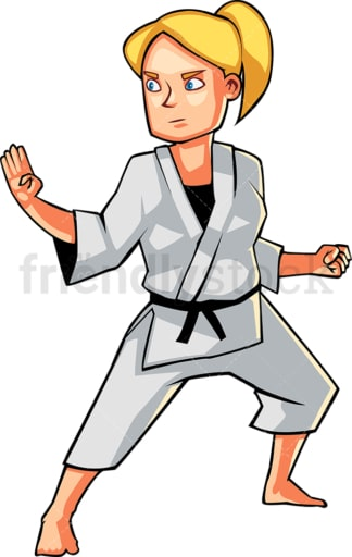 Woman holding a classic karate pose. PNG - JPG and vector EPS file formats (infinitely scalable). Image isolated on transparent background.