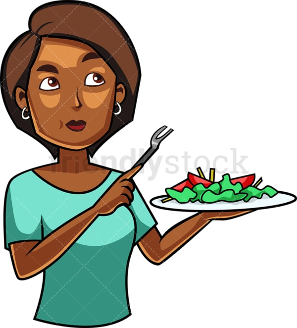 Young black woman eating salad. PNG - JPG and vector EPS file formats (infinitely scalable). Image isolated on transparent background.