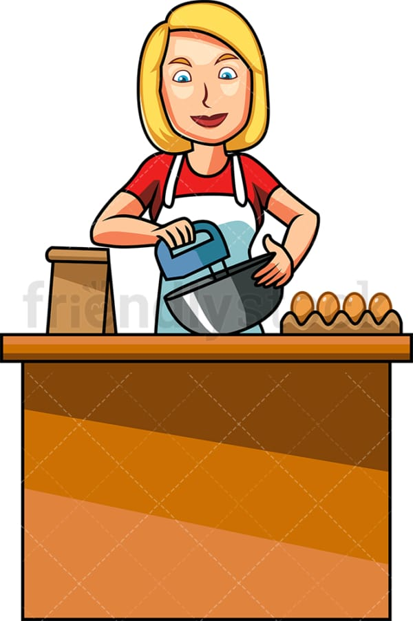 Baking caucasian woman using mixer. PNG - JPG and vector EPS file formats (infinitely scalable). Image isolated on transparent background.