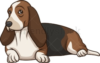 Basset hound lying down. PNG - JPG and vector EPS (infinitely scalable).