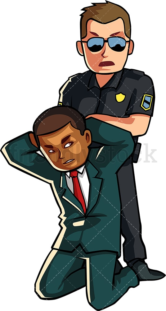 Black businessman getting arrested. PNG - JPG and vector EPS file formats (infinitely scalable). Image isolated on transparent background.