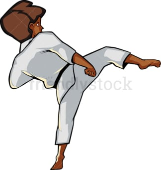 Black girl executing a side kick. PNG - JPG and vector EPS file formats (infinitely scalable). Image isolated on transparent background.
