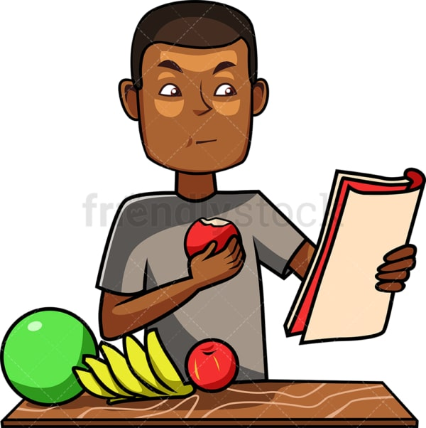 Black guy eating an apple. PNG - JPG and vector EPS file formats (infinitely scalable). Image isolated on transparent background.