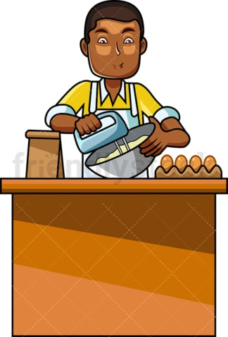 Black male cook using mixer. PNG - JPG and vector EPS file formats (infinitely scalable). Image isolated on transparent background.