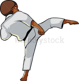 Black male executing a side kick. PNG - JPG and vector EPS file formats (infinitely scalable). Image isolated on transparent background.