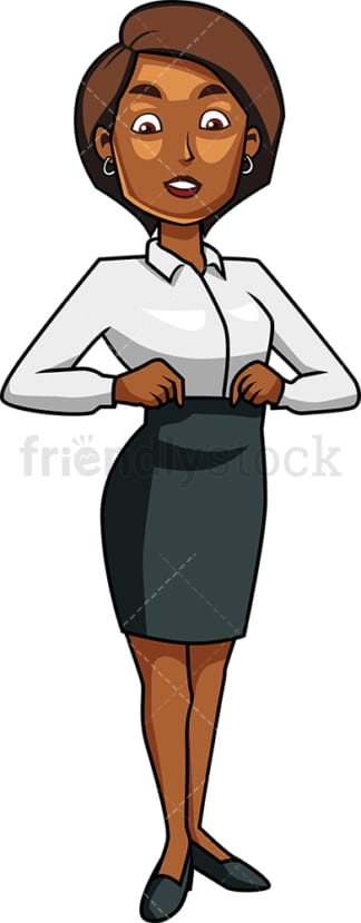 Black woman adjusting her waistline. PNG - JPG and vector EPS file formats (infinitely scalable). Image isolated on transparent background.