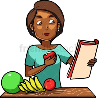 Black woman eating apple while chilling. PNG - JPG and vector EPS file formats (infinitely scalable). Image isolated on transparent background.