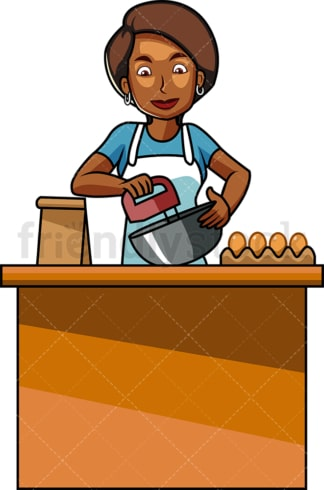 Black woman using mixer while baking. PNG - JPG and vector EPS file formats (infinitely scalable). Image isolated on transparent background.
