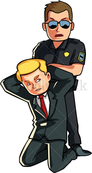 Business man getting arrested. PNG - JPG and vector EPS file formats (infinitely scalable). Image isolated on transparent background.