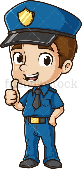 Cute policeman thumbs up. PNG - JPG and vector EPS (infinitely scalable).