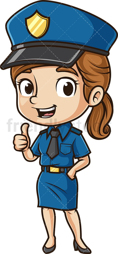 Cute policewoman thumbs up. PNG - JPG and vector EPS (infinitely scalable).