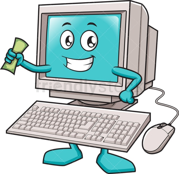 Desktop computer holding money. PNG - JPG and vector EPS (infinitely scalable).