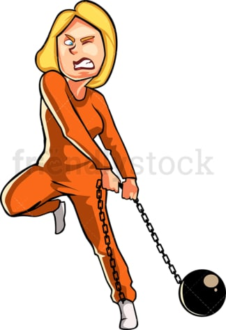 Female prisoner carrying ball and chain. PNG - JPG and vector EPS file formats (infinitely scalable). Image isolated on transparent background.