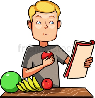 Man eating an apple while reading. PNG - JPG and vector EPS file formats (infinitely scalable). Image isolated on transparent background.