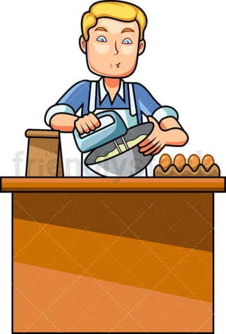 Man using a mixer while baking. PNG - JPG and vector EPS file formats (infinitely scalable). Image isolated on transparent background.