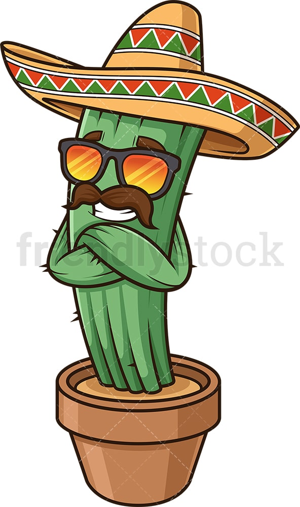 Mexican cactus with sunglasses. PNG - JPG and vector EPS (infinitely scalable).