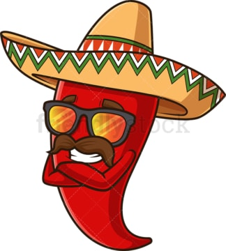 Mexican red pepper with sunglasses. PNG - JPG and vector EPS file formats (infinitely scalable). Image isolated on transparent background.