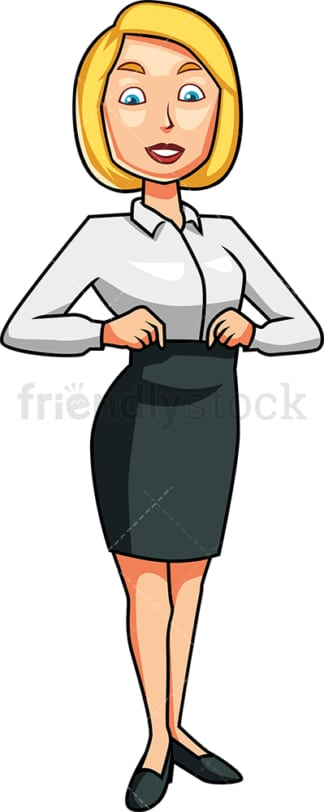 Woman adjusting her waistline. PNG - JPG and vector EPS file formats (infinitely scalable). Image isolated on transparent background.