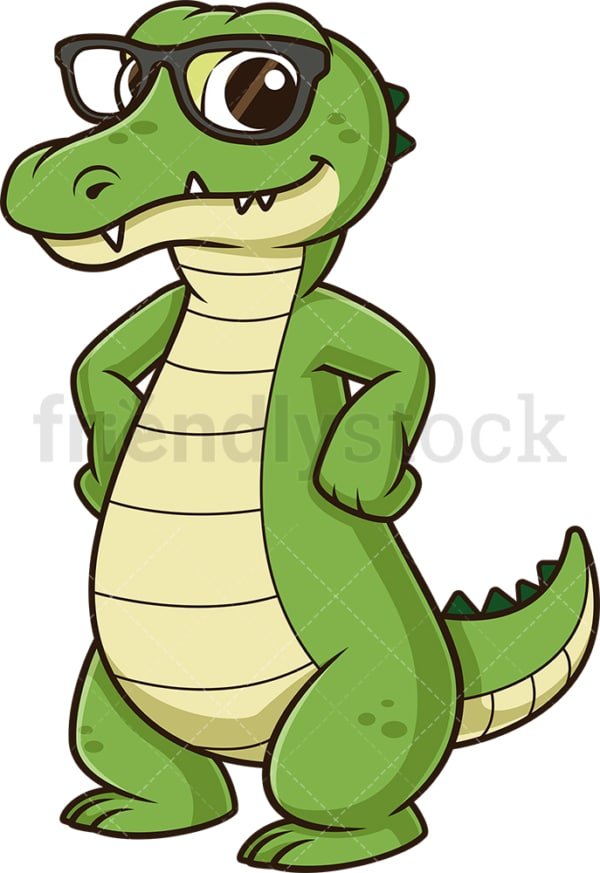 Alligator with glasses. PNG - JPG and vector EPS (infinitely scalable).