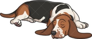 Basset hound sleeping. PNG - JPG and vector EPS (infinitely scalable).