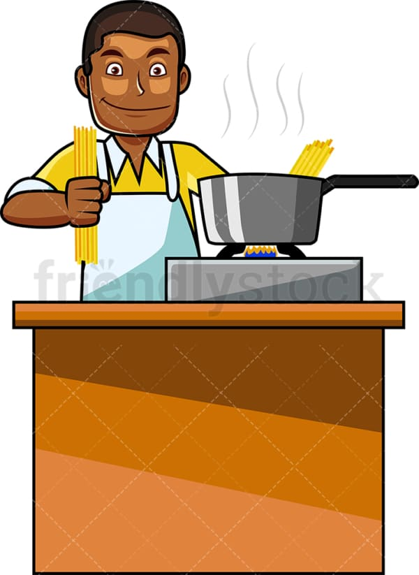 Black guy making spaghetti. PNG - JPG and vector EPS file formats (infinitely scalable). Image isolated on transparent background.
