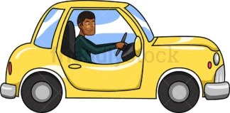 Black man cautiously driving a car. PNG - JPG and vector EPS file formats (infinitely scalable). Image isolated on transparent background.