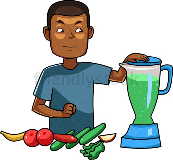 Black man making a smoothie. PNG - JPG and vector EPS file formats (infinitely scalable). Image isolated on transparent background.