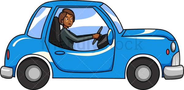 Black woman driving vintage car. PNG - JPG and vector EPS file formats (infinitely scalable). Image isolated on transparent background.