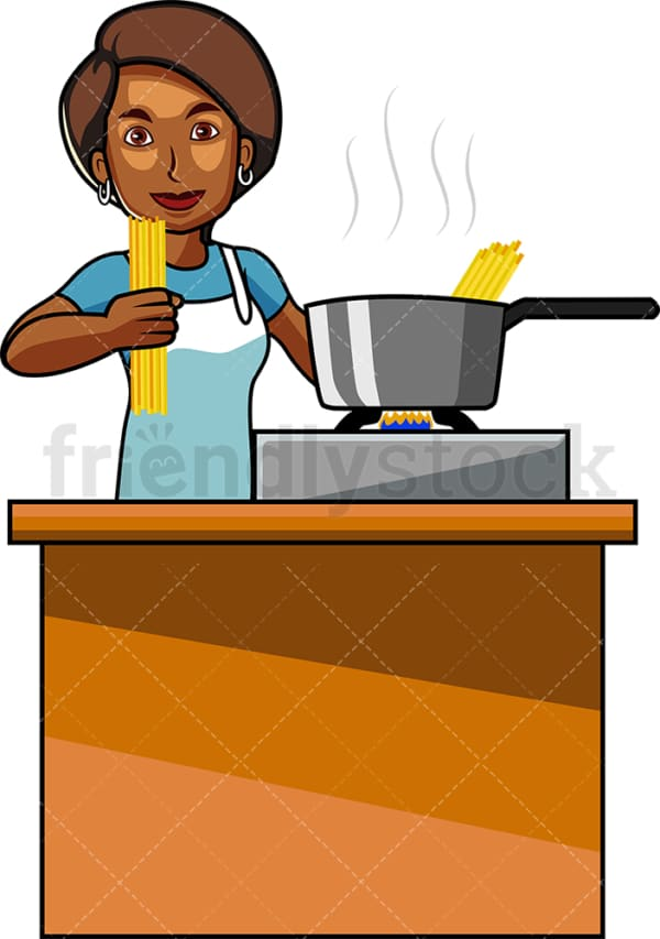 Black woman making pasta. PNG - JPG and vector EPS file formats (infinitely scalable). Image isolated on transparent background.