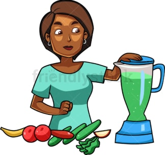 Black woman making smoothie. PNG - JPG and vector EPS file formats (infinitely scalable). Image isolated on transparent background.