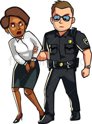 Cop arresting black woman. PNG - JPG and vector EPS file formats (infinitely scalable). Image isolated on transparent background.