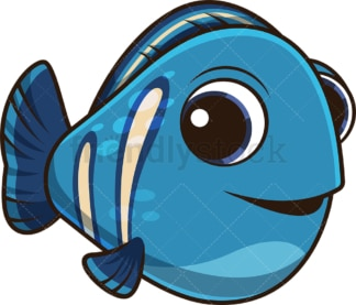 Cute blue fish. PNG - JPG and vector EPS (infinitely scalable).