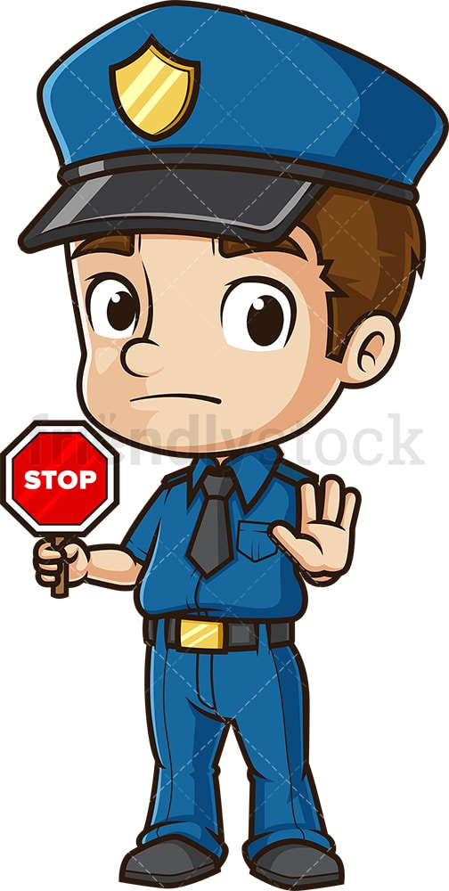 Cute policeman stop sign. PNG - JPG and vector EPS (infinitely scalable).
