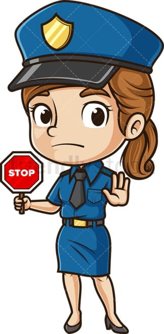 Cute policewoman stop sign. PNG - JPG and vector EPS (infinitely scalable).