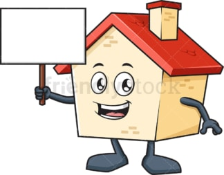 House mascot holding blank sign. PNG - JPG and vector EPS (infinitely scalable).