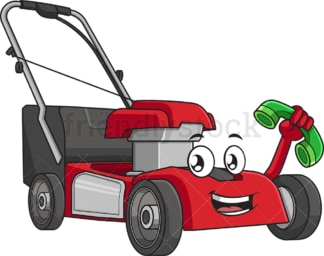 Lawn mower holding phone. PNG - JPG and vector EPS (infinitely scalable).