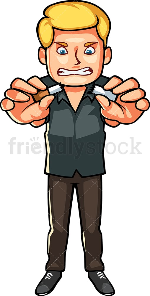 Man quitting smoking. PNG - JPG and vector EPS file formats (infinitely scalable). Image isolated on transparent background.