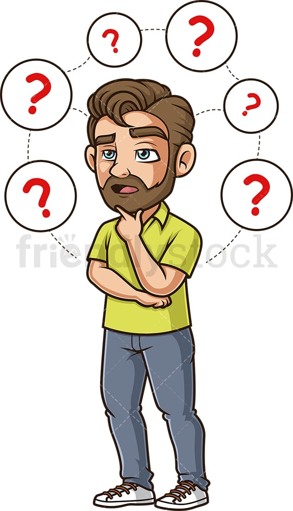 Man contemplating choices. PNG - JPG and vector EPS (infinitely scalable).