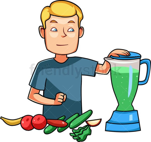 Man preparing a healthy smoothie. PNG - JPG and vector EPS file formats (infinitely scalable). Image isolated on transparent background.