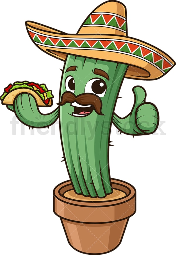 Mexican cactus holding taco. PNG - JPG and vector EPS (infinitely scalable).
