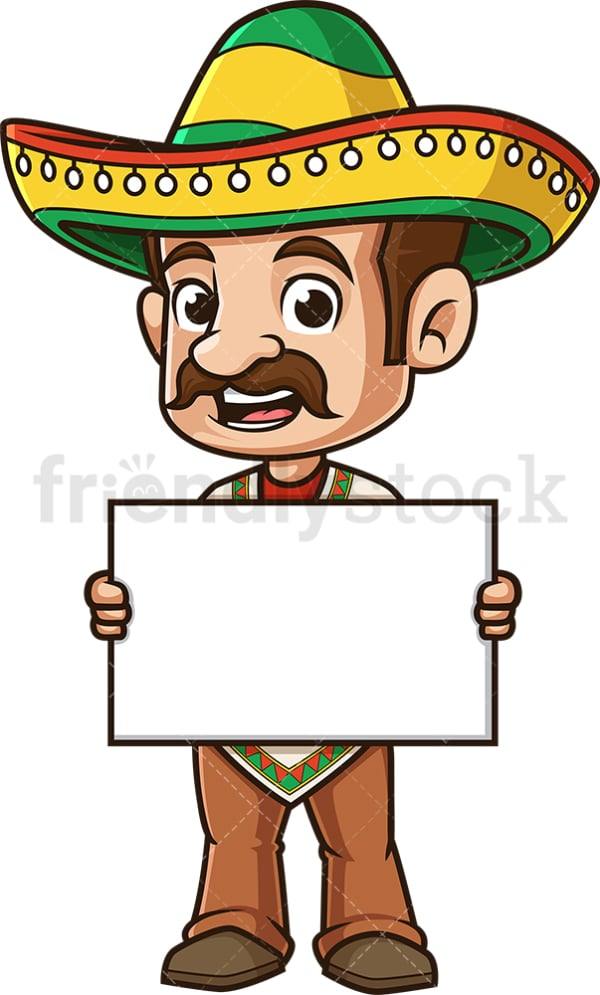Mexican man holding blank sign. PNG - JPG and vector EPS (infinitely scalable).