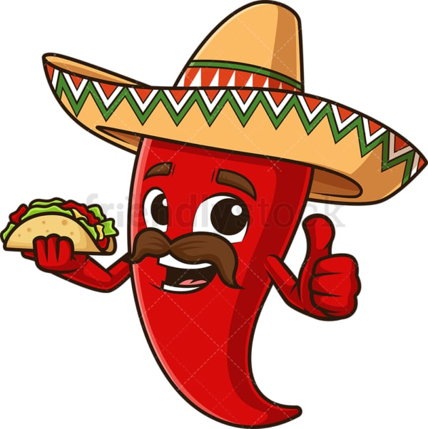 Mexican red pepper holding taco. PNG - JPG and vector EPS file formats (infinitely scalable). Image isolated on transparent background.