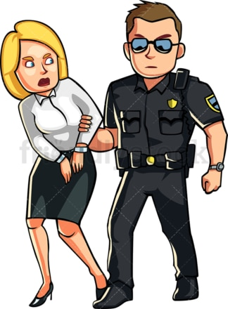 Policeman arresting woman. PNG - JPG and vector EPS file formats (infinitely scalable). Image isolated on transparent background.
