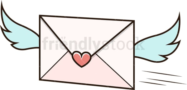 Sent love letter. PNG - JPG and vector EPS file formats (infinitely scalable). Image isolated on transparent background.
