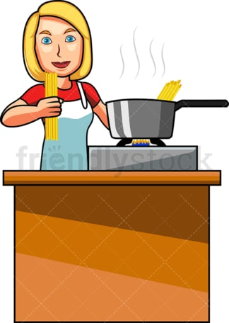 White woman making spaghetti. PNG - JPG and vector EPS file formats (infinitely scalable). Image isolated on transparent background.