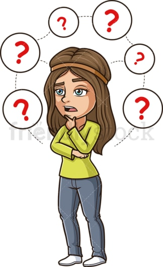 Woman contemplating choices. PNG - JPG and vector EPS (infinitely scalable).