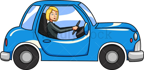 Woman driving old car. PNG - JPG and vector EPS file formats (infinitely scalable). Image isolated on transparent background.