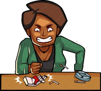 Black female smoker smashing cigarettes. PNG - JPG and vector EPS file formats (infinitely scalable). Image isolated on transparent background.