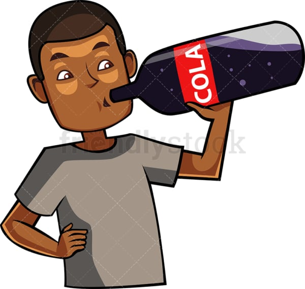 Black guy drinking a cola drink. PNG - JPG and vector EPS file formats (infinitely scalable). Image isolated on transparent background.