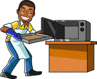Black male cook baking cookies. PNG - JPG and vector EPS file formats (infinitely scalable). Image isolated on transparent background.